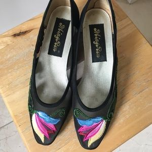 See-Through Embroidery Low Heel Shoes